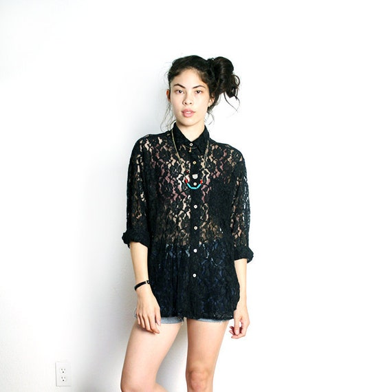 vintage black LACE button down top M