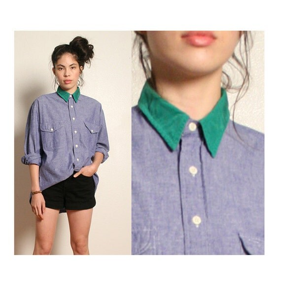 vintage chambray contrast collar button down top L