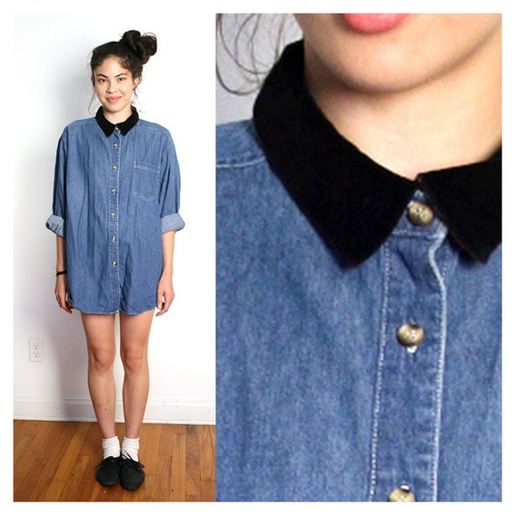 vintage denim contrast collar button down top L