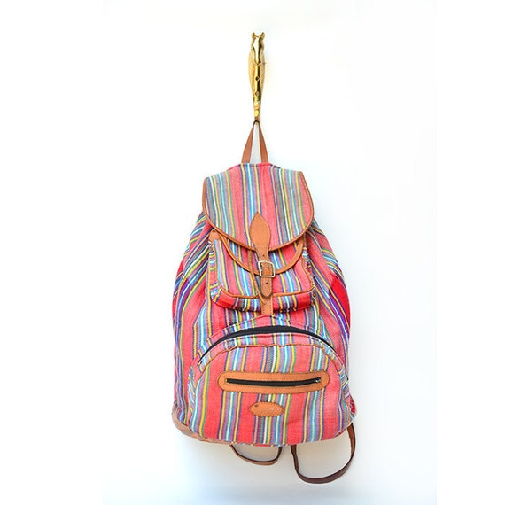 vintage woven cotton and leather southwestern backpack