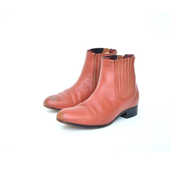 size 8.5 vintage leather modern chelsea ankle boots