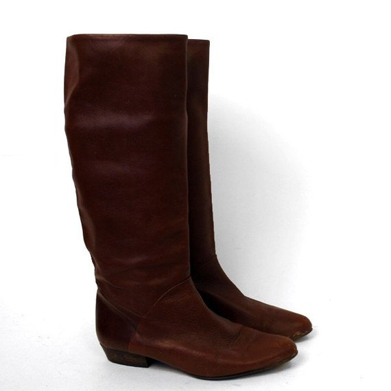 sz 8 m flat brown leather boots