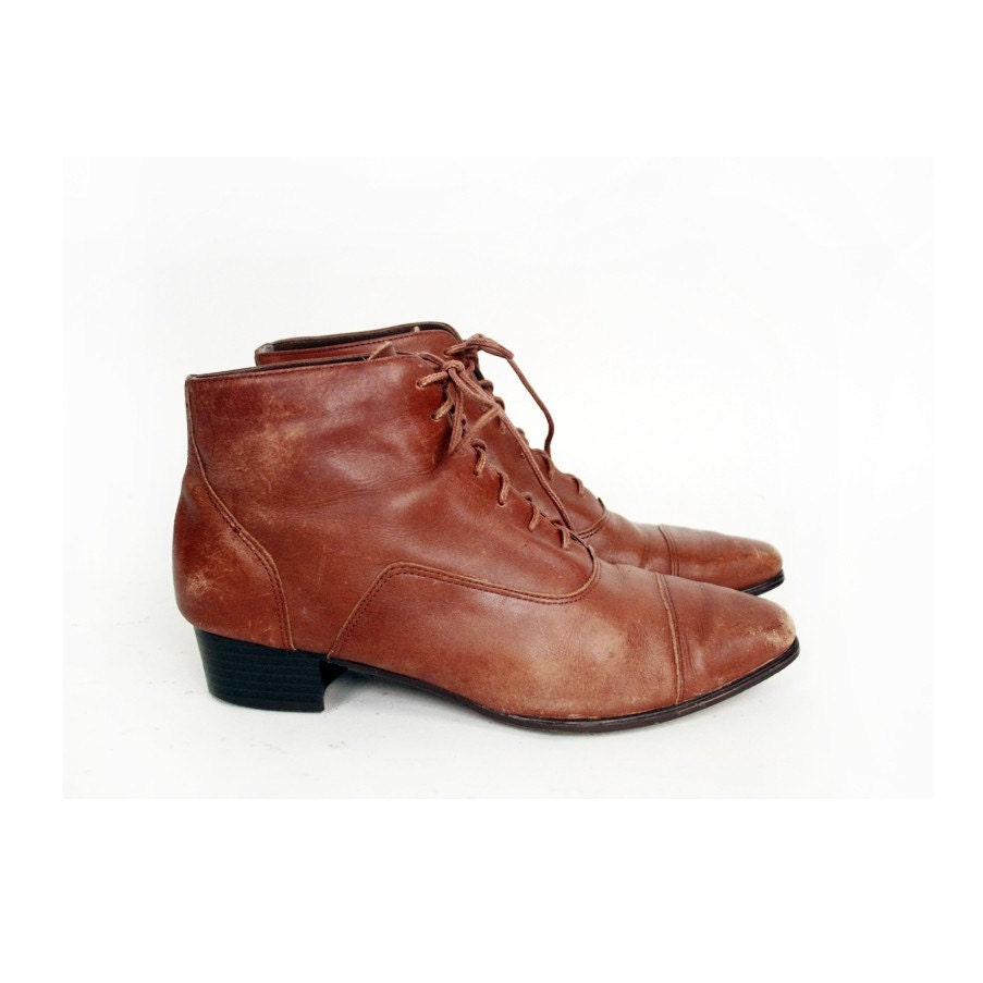 size 8 brown leather ankle boots