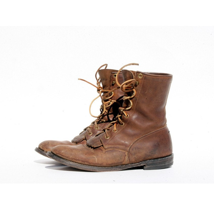 size 9 mens brown leather lace up boots