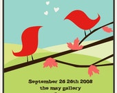 Wedding Invitation\/Reception Poster                                                            -Bright Birds-
