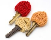 3 Hand Knit Key Cozies Warm Colors