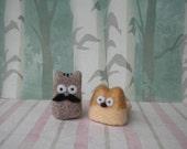 Ratman and Bobbin - Micro Mini Felted Cats