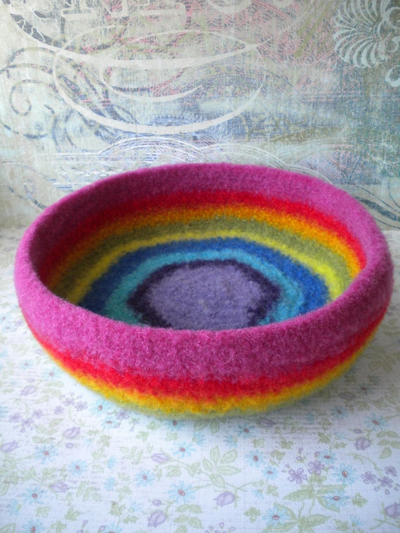 Crazy Rainbow Stripes Felted Whatnot/Ring Bowl