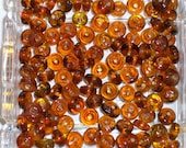 VINTAGE AMBER BEADS / Glass Spacers  4  x7mm