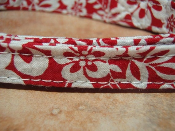 LAST ONE - Hawaii 5-0 Red Flower Fabric Organic Cotton SMALL Dog Collar - All Antique Brass Hardware