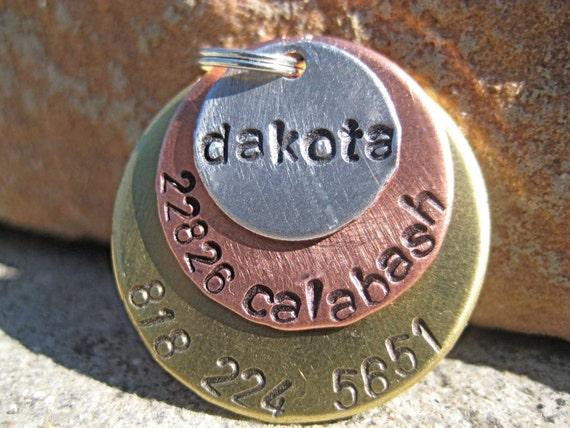 Metal Madness Dakota - Handstamped Pet ID Tag Layered Dogs