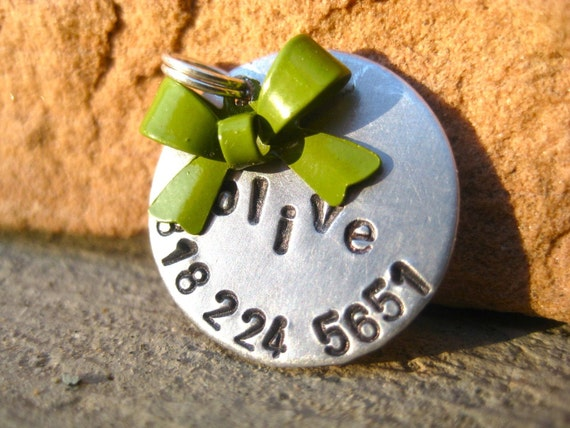The Olive - Bow Pet ID Tag Small Dog Cat Feminine Unique Handstamped