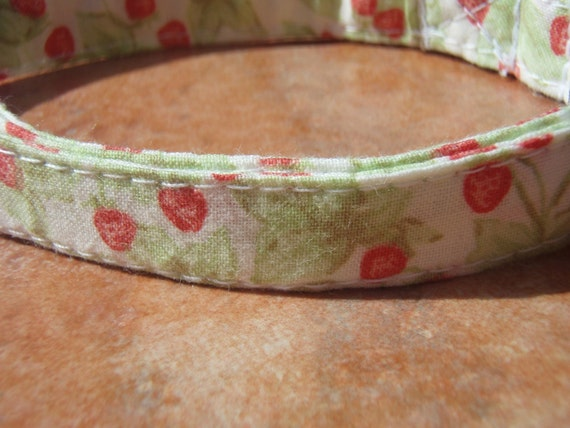 LAST ONES - French Strawberry - Summer Strawberries Organic Cotton CAT Collar Breakaway Safety - All Antique Brass Hardware