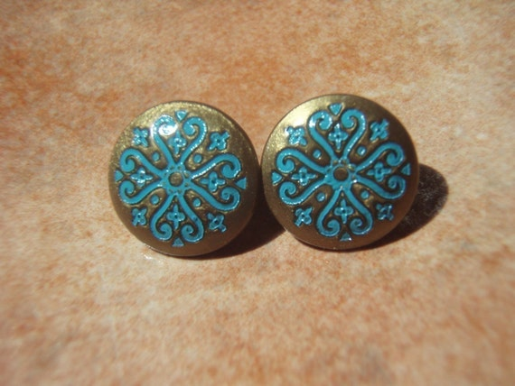 MIDDLE EASTERN MUSE Dainty Bronze Teal Scroll Stud Earrings - - Nickel Free and Gift Packaged