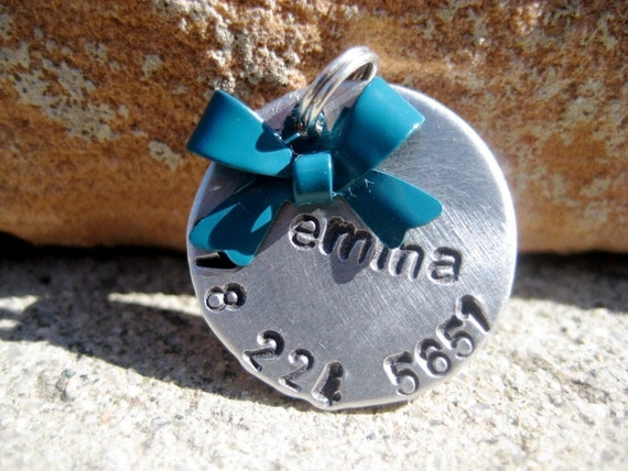 The Emma - Bow Pet ID Tag Small Dog Cat Feminine Unique Handstamped