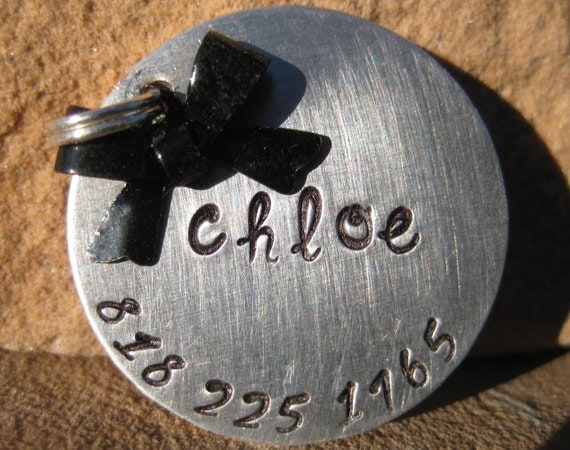 The Chloe - Bow Pet ID Tag Dog Feminine Unique Handstamped