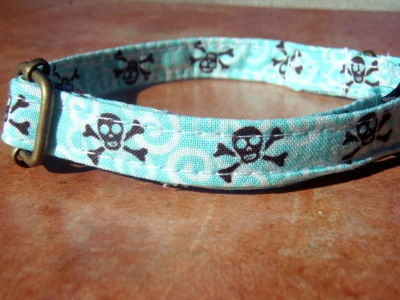 The Jack - Chocolate Aqua Skulls Organic Cotton CAT Collar - All Antique Brass Hardware