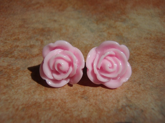 CHANELLE BUDS Light Pink Rose Studs Earrings - Nickel Free and Gift Packaged