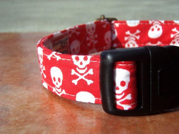 The Swashbuckler - Organic Cotton Dog Collar MEDIUM Red Skulls Nautical - All Antique Brass Hardware