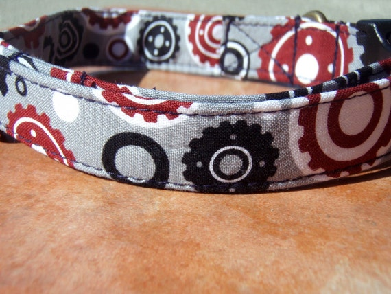 The Sprocket - Organic Cotton Dog Collar LARGE Gears Red Grey Steampunk - All Antique Brass Hardware