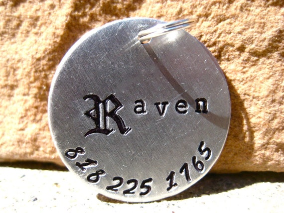 The Raven - Handstamped Gothic Old English Pet ID Tag Aluminum Dogs Larger Unique