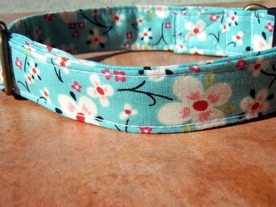 Geisha Girl - Organic Cotton Dog Collar LARGE Cherry Blossoms - All Antique Brass Hardware