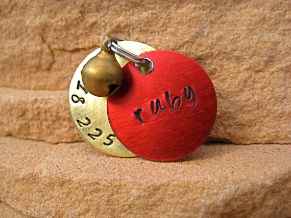 The Ruby - Unique Red Brass Bell Pet ID Tag Brass Small Dog Cat Handstamped