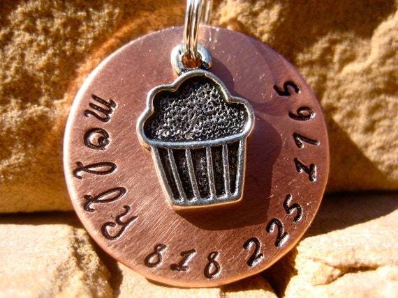 The Molly - Unique Handstamped Pet ID Tag Silver Cupcake Dog Tag