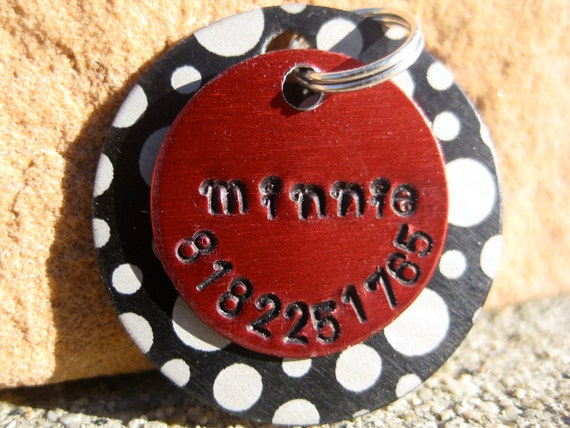 The Minnie - Unique Handstamped Pet ID Tag Layered 2 Disc Dogs