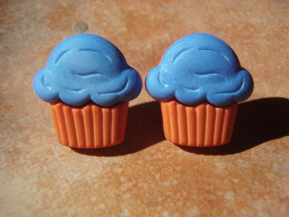 Retro Collection- Retro Cupcakes - Blue Top and Orange Bottom Stud Earrings - - Nickel Free and Gift Packaged