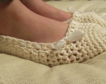 Cotton Wedding Slippers In Creamy Ballet