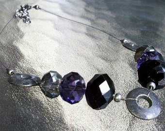 Glass and Metal Choker Necklace In Purple