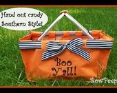 """Monogrammed """"Boo Y'all"""" Interchangeable Orange Market Tote Candy Basket Trick or Treat Halloween Party Fall Candy Personalized Hostess Gift"""