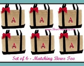SET OF 8 (Eight) Monogrammed Black Natural Canvas Large Boat Totes - Initial and Name Personalized Totes - custom bridesmaids gifts wedding
