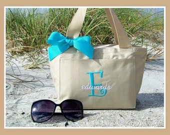 Khaki Initial and Name Family Name LUNCH Cooler Tote - Personalized Beach Pool Drinks Beige Neutral Sand Aqua Blue Turquoise Insulated Solid