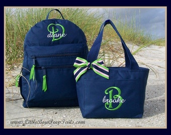 Gift Set - Initial and Name Monogrammed Backpack and Lunchbox - Personalized Solid Color School Girls Back Pack Book Bag kids childrens
