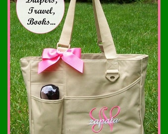 Girls Initial and Name Monogrammed Diaper Bag, Personalized Baby Shower Gift, Newborn, Customized Baby tote bag