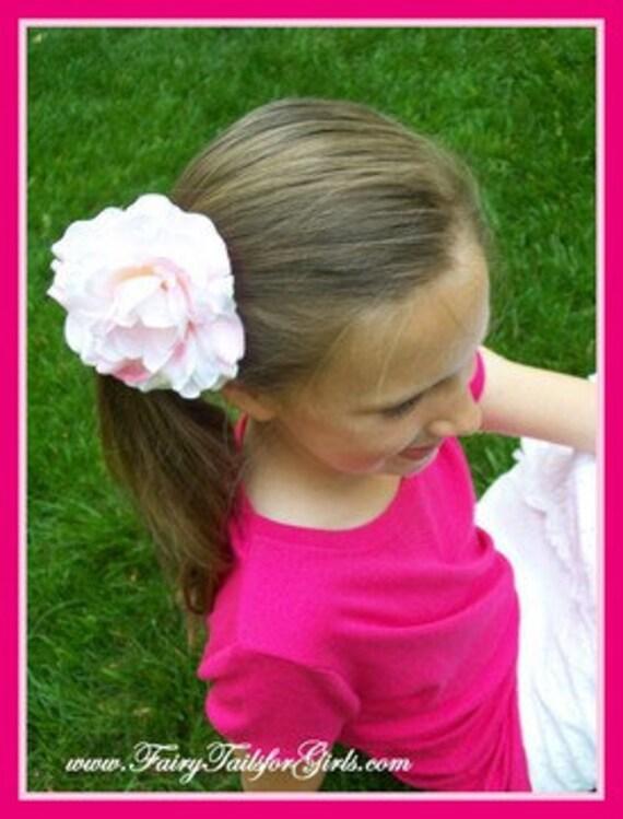 Silk Peony Flower Clip - light pink yellow red black orange white hot pink lavender orchid hair bow girls beach wedding uniform flower girl