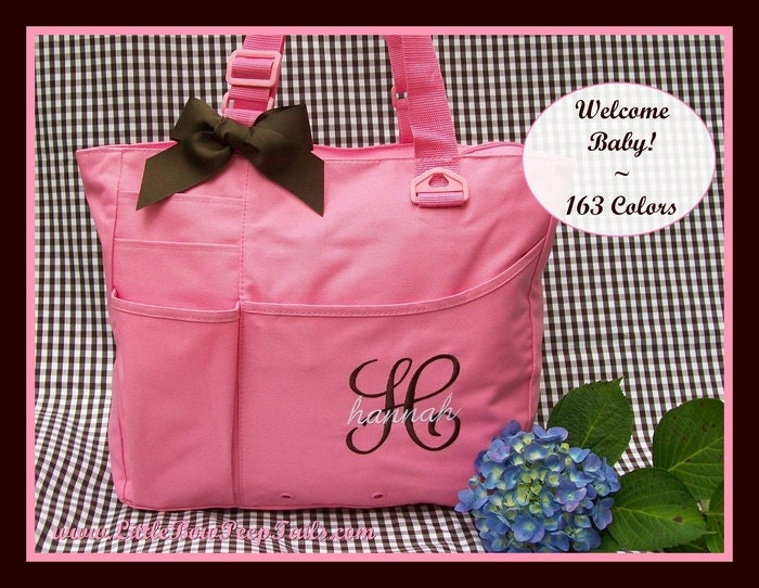 initial and name monogrammed diaper bag by somethingyougifts. Black Bedroom Furniture Sets. Home Design Ideas