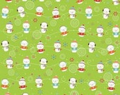 Riley Blake Colorful Christmas Snowmen on Green Cotton Fabric 2.5 yards RESERVED
