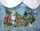 Girls Smocked Dress Size 2,/ Hand Smocked Hand Embroidered/ Gathering Flowers in the Country