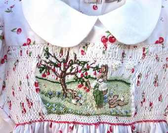 Girls Smocked Dress, Size 1/ Hand Smocked, Hand Embroidered  Christmas Gift /Cheers For Cherries