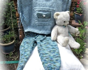 Baby Poncho & Pants, Size 12 mos/.Hand Knit and Embroidered / Little Lamb on Blue /