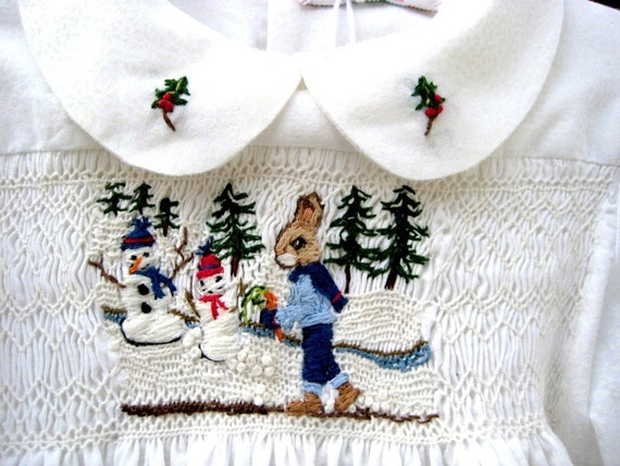White Smocked Baby Dress/ Size 1/ Hand Smocked Hand Embroidered, Winter/ Christmas Dress