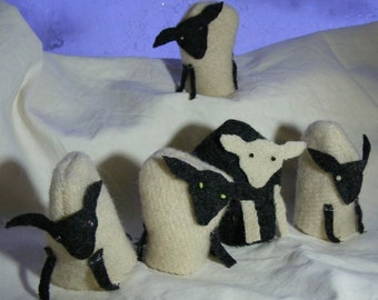 5 felt sheep finger puppets mini textile sculpture upcycled