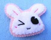 White and Pastel Pink - Kawaii Usagi-chan Brooch