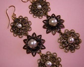 Drop Earrings by Senza Fine - Filigree and Swarovski Pearl