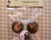 Russian Authors - set of five 1 inch buttons