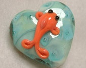 Koi bead, Free Shipping Etsy- handmade glass heart shape blue green with bubbles and orange fish on both sides- gift idea under 20