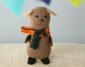 wee softies - ó-os - little brown dog with orange scarf